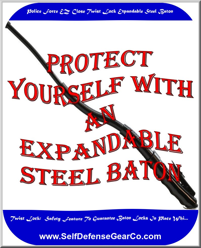 Police Force EZ Close Twist Lock Expandable Steel Baton