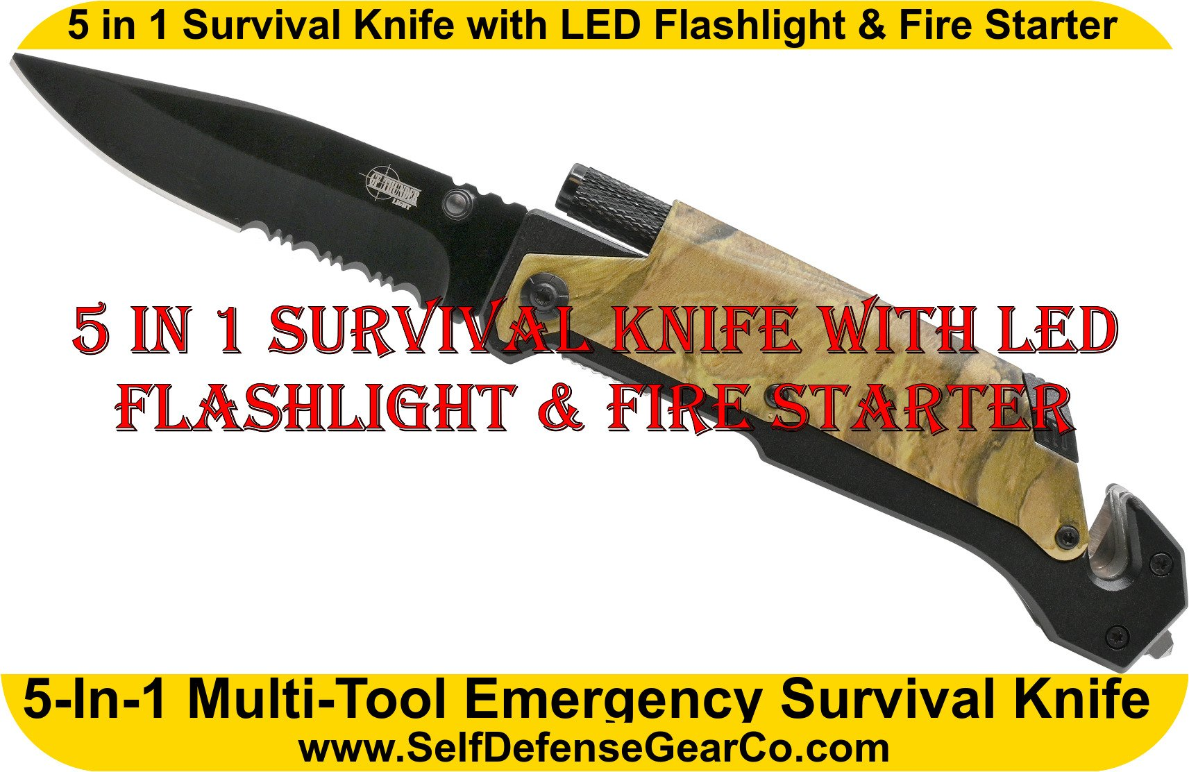 5 in 1 Survival Knife with LED Flashlight & Fire Starter