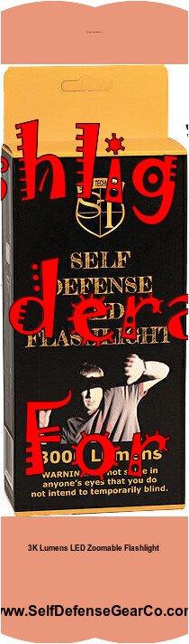 3K Lumens Zoomable LED Self Defense Flashlight